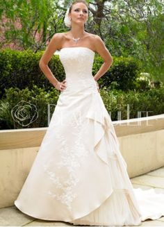 Creative Strapless Satin A Line Wedding Dress With Appliques