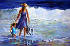 OIL PAINTING OF MOTHER AND LITTLE GIRL WALKING THE BEACH -- Elizabeth Blaylock