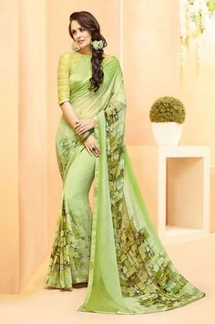 Georgette Green Casual Digital Print Saree