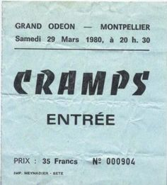 THE-CRAMPS-Used-Concert-TICKET-1980-France-Montpellier-Poison-IVY-Lux-INTERIOR The Cramps, Montpellier, Teenage Werewolf, Concert Tickets, France, Psychobilly, Poison Ivy, Punk Rock, Flyers