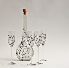 Set of 4 Aperitif Grappa Glasses and a Bottle  by NevenaArtGlass, $120.00