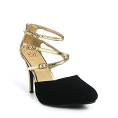 Delicious Pandi Women's Two Tone Strappy Almond Toe Pump Black Gold Size 7 US Delicious,http://www.amazon.com/dp/B00GDKWOCS/ref=cm_sw_r_pi_dp_V6l2sb1Q0HF6SCAN