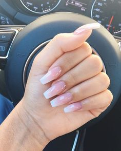 Natural acrylic nails coffin shape beautiful lzybtch nails - www coffin nails natural - Coffin Nails Acrylic Nails Coffin Pink, Natural Acrylic Nails, Pink Ombre Nails, Natural Nails, White Coffin Nails, Gorgeous Nails, Love Nails, Pretty Nails, My Nails