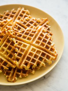 Gruyere and Green Onion Waffles from @SpoonForkBacon