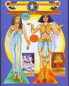 Cleopatra paper dolls from 1946 and 1917 movies.  Back Cover. By David Wolfe, Paperdollywood. Available for purchase at paperdollreview.com
