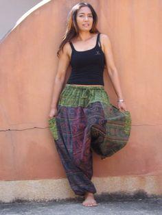 Harem  Pants ...Yoga Pants ..Leisure Pants ... Patchwork Stone Washed Yoga Pants, Harem Pants, Aladdin Pants, Hands On Hips, Patchwork Fabric, Cotton Lights, Running Women, Parachute Pants, Hot Girls