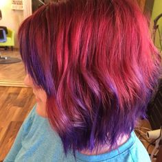 Red and purple color melt on short hair