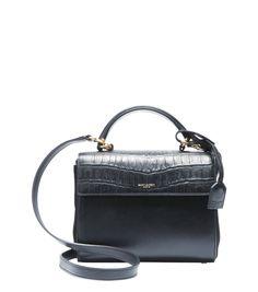 SAINT LAURENT Black leather embossed accent convertible mini top handle bag c526f44253