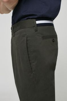 Cotton twill chinos with a two-tone grosgrain stripe detail at back. Fashion Moda, Mens Fashion, Cheap Fashion, Yomi Casual, Men Trousers, Men's Pants, Shirt Collar Styles, Slim Fit Pants, Gentleman Style