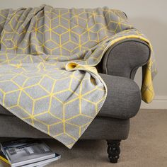 Super soft yellow and grey brushed cotton throw. Perfect for curling up on the sofa in. Grey Throw Blanket, Wool Blanket, French Fabric, Cotton Throws, Soft Blankets, Soft Furnishings, Neutral Colors, Color Pop, Colour