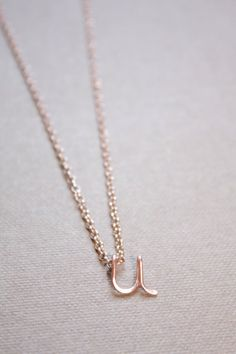 Letter U Necklace Silver Gold Rose Gold Initial by DiAndDe on Etsy