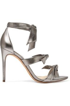 89a9424bc52 Alexandre Birman - Lolita Bow-embellished Metallic Leather Sandals - Silver  - IT
