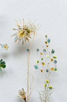 Flower Constructions by Anne Ten Donkelaar Paper Collage Art, Flower Collage, Flower Wall, Dried Flowers, Paper Flowers, Flower Seeds, Ikebana, Plant Painting, Wedding Flower Inspiration