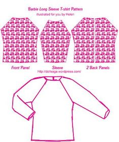 DIY –T Shirt Pattern For Barbie « Helen's Doll Saga Many of my friends loved the pictures of the t-shirts I posted yesterday. here is the pattern I offer you to try it yourself. you will need to adjust the sizes based on the types of materials you u… Sewing Barbie Clothes, Barbie Sewing Patterns, Doll Dress Patterns, Sewing Dolls, Clothing Patterns, Shirt Patterns, Pattern Sewing, Sewing Coat, Pattern Drafting