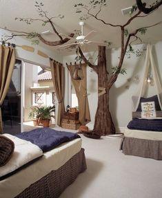Fantasievolle Deko des Kinderzimmers-Baum selbst gestalten-natürliche Optik