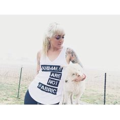 "Rancho Relaxo founder Caitlin Stewart (IG: @boochaces) in our ""Animals Are Not Fabric"" tank!"