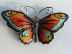 Large Colorful Vintage Enamel David Andersen Norway Sterling Butterfly Pin | eBay