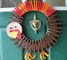 Thanksgiving Wreath Whimsical Turkey by GlitterGlassAndSass #glitterglassandsass #thanksgiving #gobbler