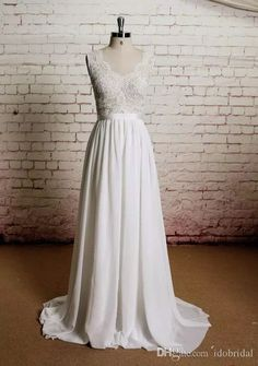 2016 Vintage A Line Wedding Dresses Chiffon Lace Maternity Sheer See Through Beach Bohemian Wedding Party Engegement Gown Unique Custom Made Weddingdresses White Wedding Dress From Idobridal, $108.55  Dhgate.Com