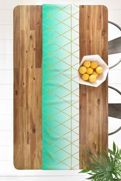 Leah Flores Turquoise and Gold Geometric Table Runner | DENY Designs Home Accessories