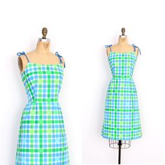 Vintage 1960s Dress / 60s Plaid Cotton by lapoubellevintage