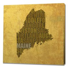 Maine Textual Art on Wrapped Canvas