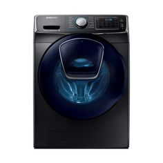Save time and energy by choosing this Samsung High Efficiency Front Load Washer with Steam and AddWash Door in Black Stainless Steel, ENERGY STAR. Home Depot, Washer Pedestal, Samsung Washer, Stainless Steel Drum, Laundry Appliances, House Appliances, Stainless Appliances, Gas Dryer, Lowes Home
