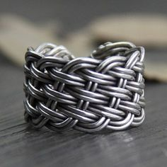 Fine Silver Wide Braided Wrap Ring - Jewelry1000.com