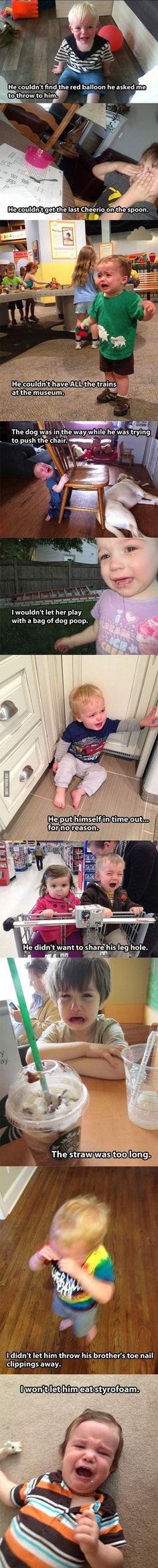 """Reasons My Son Is Crying…pretty sure we've experienced all of these. ~~Haha """"its funny cause its true"""" lol Lol So True, True True, Funny Kids, Funny Cute, Freaking Hilarious, Super Funny, Haha, Funny Memes, Jokes"""