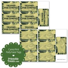 Use these free printable camo tags to add a quick thank you note on your child's army party favor treat bags. These printable camo tags for party favor bags have a green and tan camouflage Paintball Birthday, Army Birthday Parties, Army's Birthday, Hunting Birthday, Hunting Party, Paintball Party, Birthday Ideas, Camouflage Party, Camo Party