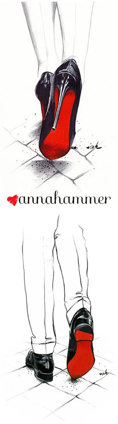 "Christian Louboutin Fashion Illustration, ""Devil Wears Louboutin"" by anna hammer"