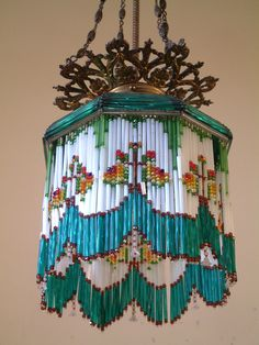 Antique 1900's beaded lamp shade ...