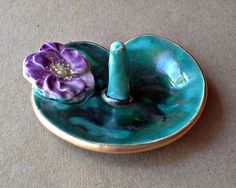Water Lily Ceramic Wedding  Ring Holder Bowl Purple Flower edged in gold