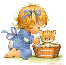 IMÁGENES ORIGINALES DE RUTH MOREHEAD- girl giving kitty bath