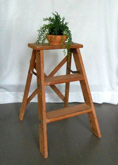 Rustic Wooden Step Ladder Vintage Stool by BeeHavenHome on Etsy, $75.00