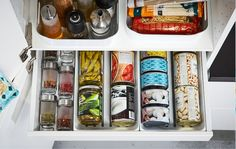 IKEA MAXIMERA white kitchen pantry drawer can keep your cans, tins, and spices organised, while VARIERA white plastic baskets hold oils, tall bottles and more. Ikea Kitchen Organization, Kitchen Pantry Storage, Pantry Organisation, Ikea Kitchen Cabinets, Organization Hacks, Organizing Ideas, Ikea Pantry, Cupboard Storage, Clothing Organization