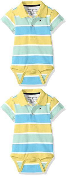 Tommy Hilfiger Baby Boys' Short Sleeve Striped Shaun Bodysuit, Tara Yellow, 9 Months