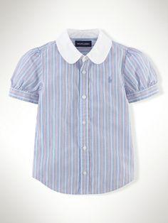 Striped Cotton Shirt - Girls 2-6X Tops & Tees - RalphLauren.com