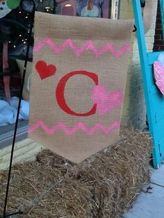 Valentine yard flag with chevron stripe and initial by Burlapulous, $18.00