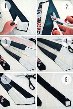 Great pin for men!! Tutorial on how to transform a regular tie into a skinny tie.