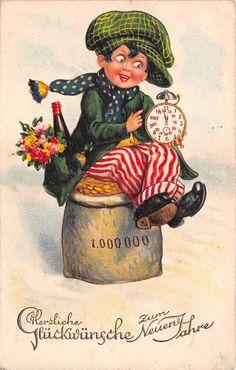 AK Litho. Junge mit Wecker und Geldsack Zum Neuen Jahre Postkarte in Sammeln & Seltenes, Ansichtskarten, Motive | eBay