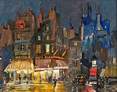 Konstantin Korovin (Russian Impressionist, Paris in winter Paris by night on Rue Lepic in Montmartre . Paris At Night, Midnight In Paris, Paris Kunst, Paris Art, Nocturne, Art Parisien, Paris Painting, Painting Inspiration, Art Inspo