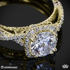 Yellow Gold Verragio Twisted Halo Diamond Engagement Ring from the Verragio Parisian Collection.