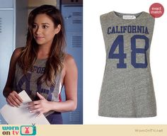 "Emily's ""California 48″ tank on Pretty Little Liars.  Outfit Details: http://wornontv.net/34615/ #PLL"