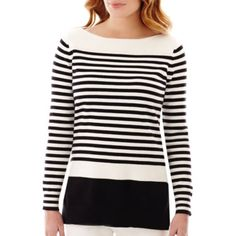 Liz Claiborne Long Sleeve Boat Neck Stripe Tunic Sweater - JCPenney