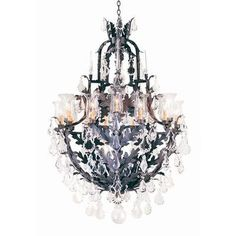 2nd Ave Design French Baroque 16 Light Crystal Chandelier Finish: Rustic Iron, Shade: Taupe Faille