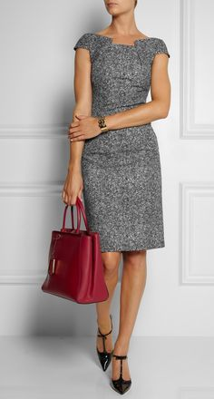 MICHAEL KORS | Front View of the Dress  Origami-folded Wool-Tweed Dress 1,550 USD| Shown here with | Eddie Borgo cuff, Jimmy Choo shoes, Fendi bag.