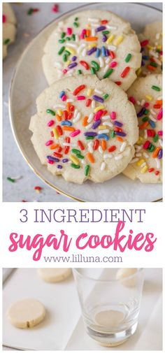 Quick Easy and delicious sugar cookies made with just 3 ingredients - butter flour and sugar! Can't get easier than that! Quick Easy and delicious sugar cookies made with just 3 ingredients - butter flour and sugar! Can't get easier than that! 3 Ingredient Sugar Cookie Recipe, Sugar Cookie Recipe Easy, Soft Sugar Cookies, Easy Cookie Recipes, Baking Recipes, Easy Few Ingredient Desserts, Ginger Cookies, Fudge Recipes, Cookie Ideas