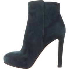 Pre-owned Gianvito Rossi Ankle Boots ($345) ❤ liked on Polyvore featuring shoes, boots, ankle booties, green, green suede booties, round toe booties, suede bootie, zipper ankle boots and suede ankle booties
