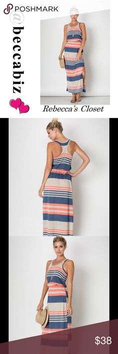 Cute Racer back maxi dress with side leg slit Summery comfortable striped racer back maxi dress with gathered waist and side slit.  Made in the USA.  95% rayon and 5% Lycra.   Sizing is running accurate to chart.  Kept one for myself and I love it.    NO TRADES Boutique Dresses Maxi